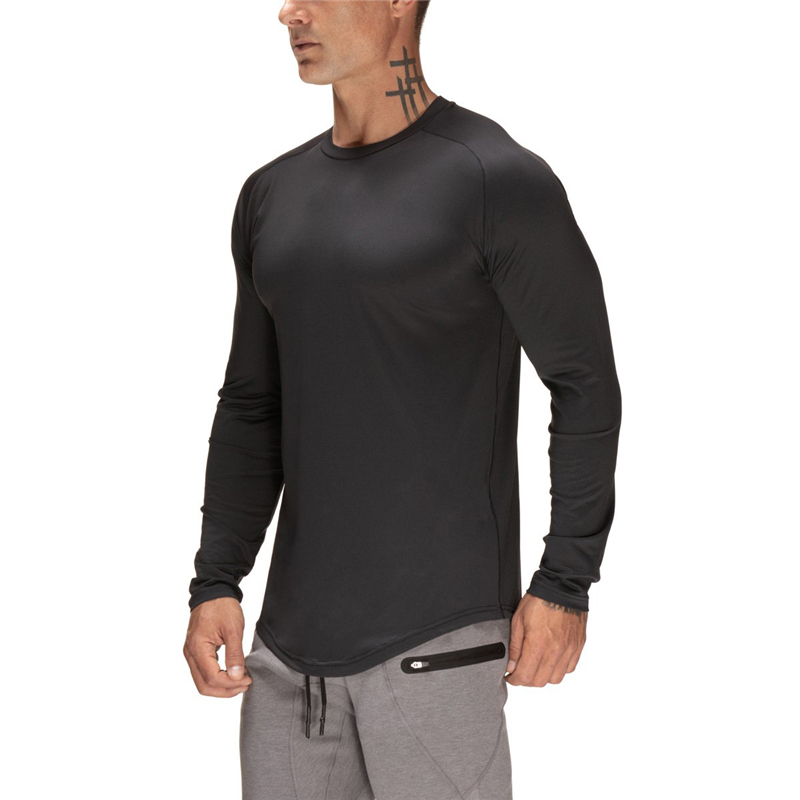 New Autumn <font><b>Mesh</b></font> long sleeve t shirt <font><b>men</b></font> Sporting Fitness <font><b>Tshirt</b></font> <font><b>Men</b></font> Workout solid o-neck Gyms Bodybuilding T-shirt homme image