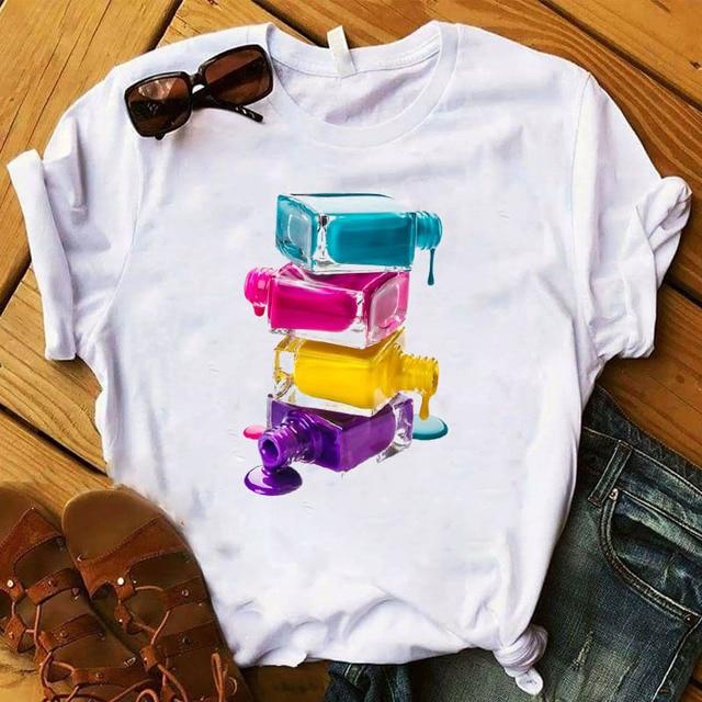 Women T Womens Graphic 3D Finger Nail Paint Color Fashion Cute Printed Top Tshirt Female Tee Shirt Ladies Clothes T-shirt 2
