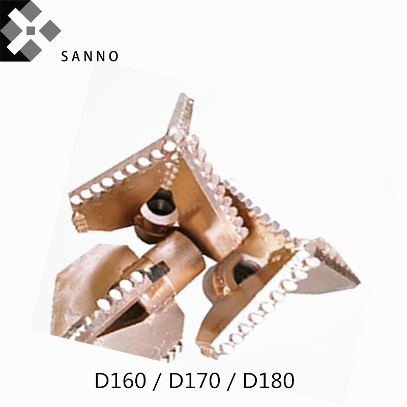 D170 / D180 Three Blade Drill Bit 3 Wings Full Tooth Drilling Tool Mud Pump Fitting Matching 42 / 50 Drill Pipe D160 For 60 Rods
