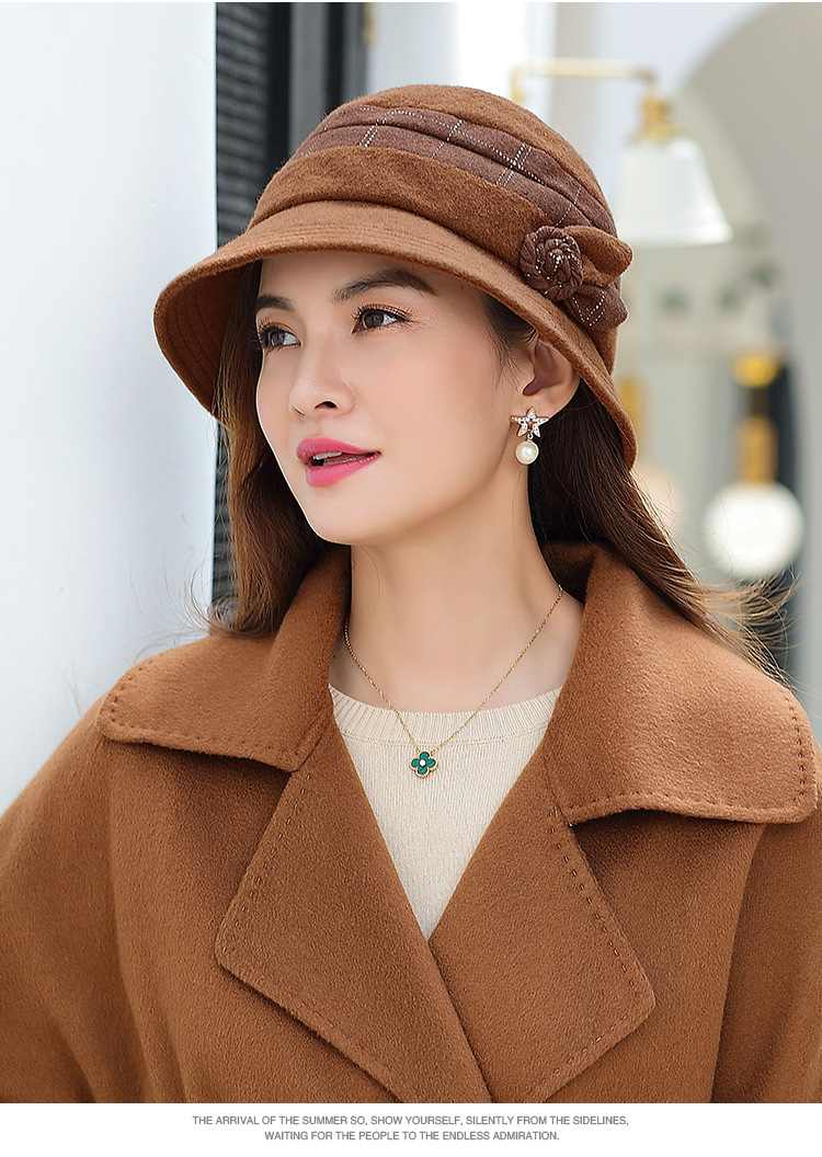 New Winter Warmth Fashion Bow Lady Hat Dome Elegant Ladies Real Wool Topper for Women Bowknot Winters Hats
