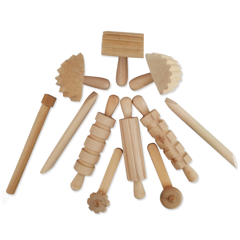 12pcs/set Children DIY Slime Plastic Clay High Grade Wood Tool Plasticine Supplies Slime Dough Educational Toy For Children Gift