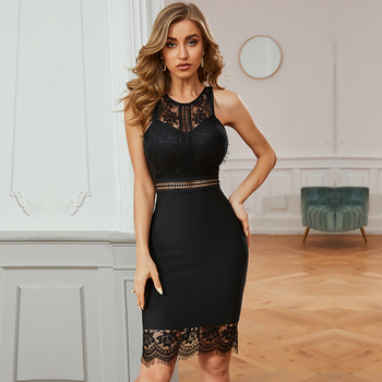 Maketina 2020 New Summer Black Mesh Bandage Dress Women Sexy Sleeveless Spaghetti Strap Club Celebrity Evening Party