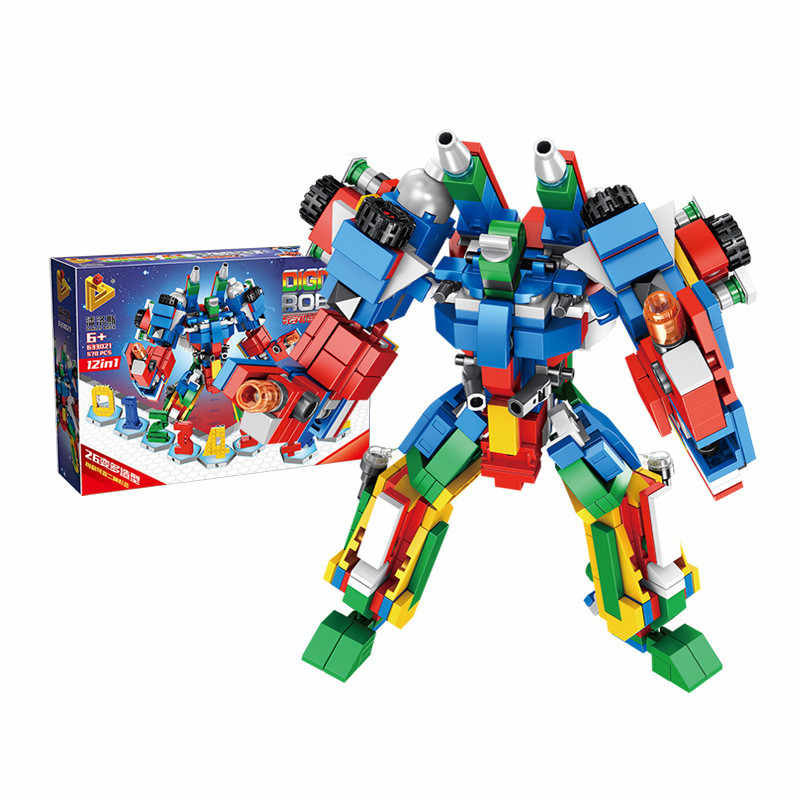 New 12 In 1 Deformation Combined Digital Robot Legoings Building Blocks For Children Toys Educational Bricks Gifts