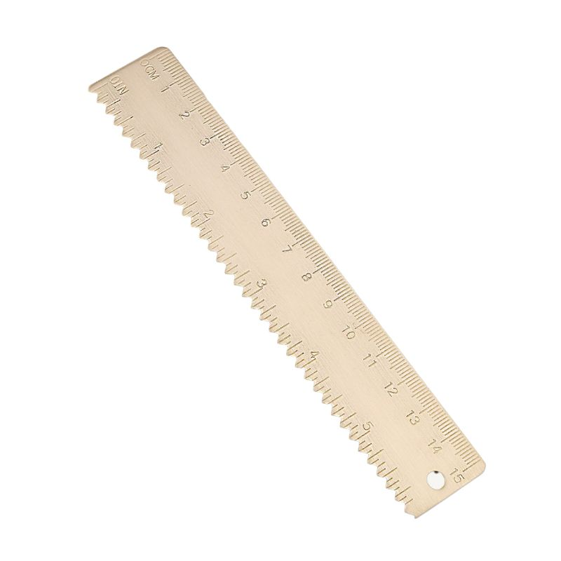 15cm Brass Wave Straight Ruler Bookmark Cartography Painting Measuring Student Qyh