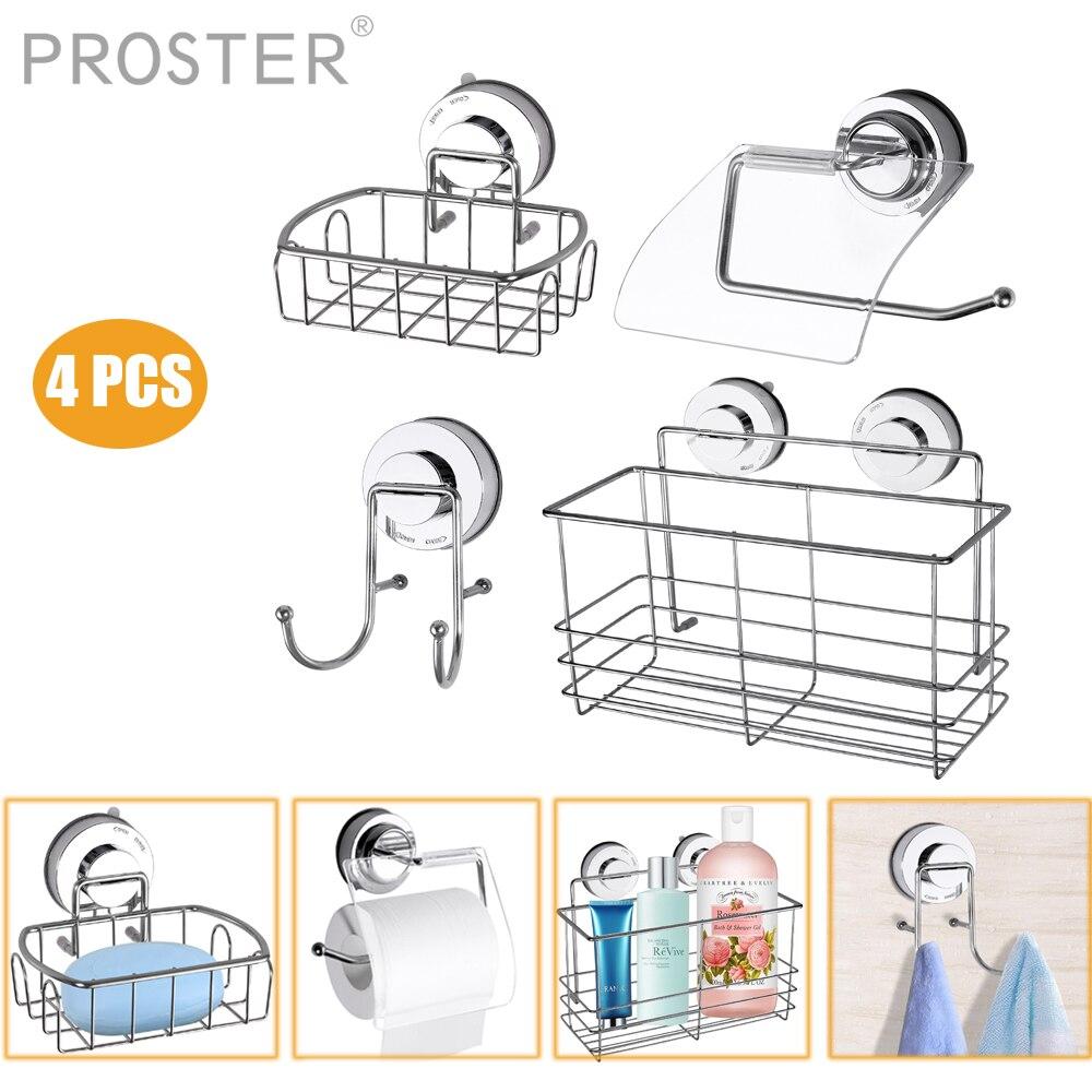 Proster 4 Packs Suction Cup Hook Soap Dish Storage Kitchen Storage Basket Bathroom Shampoo Conditioner Toilet Paper Roll Holder