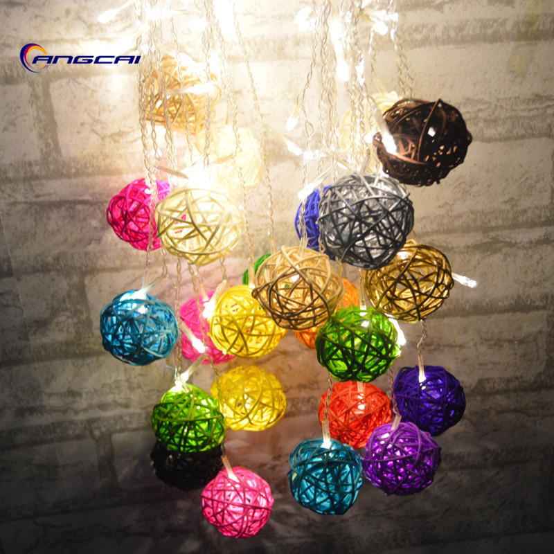 Curtain Lights 4M*0.3 0.4 0.5m 96led Multicolor Handmade Rattan Balls String Fairy Party Patio Decor Party Night Twinkle Garland