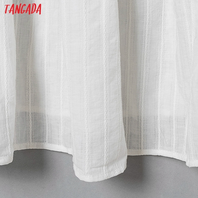 Tangada 2021 Fashion Women Flowers Embroidery White Strap Dress Sleeveless Backless Female Casual Beach Sundress 6H40 5