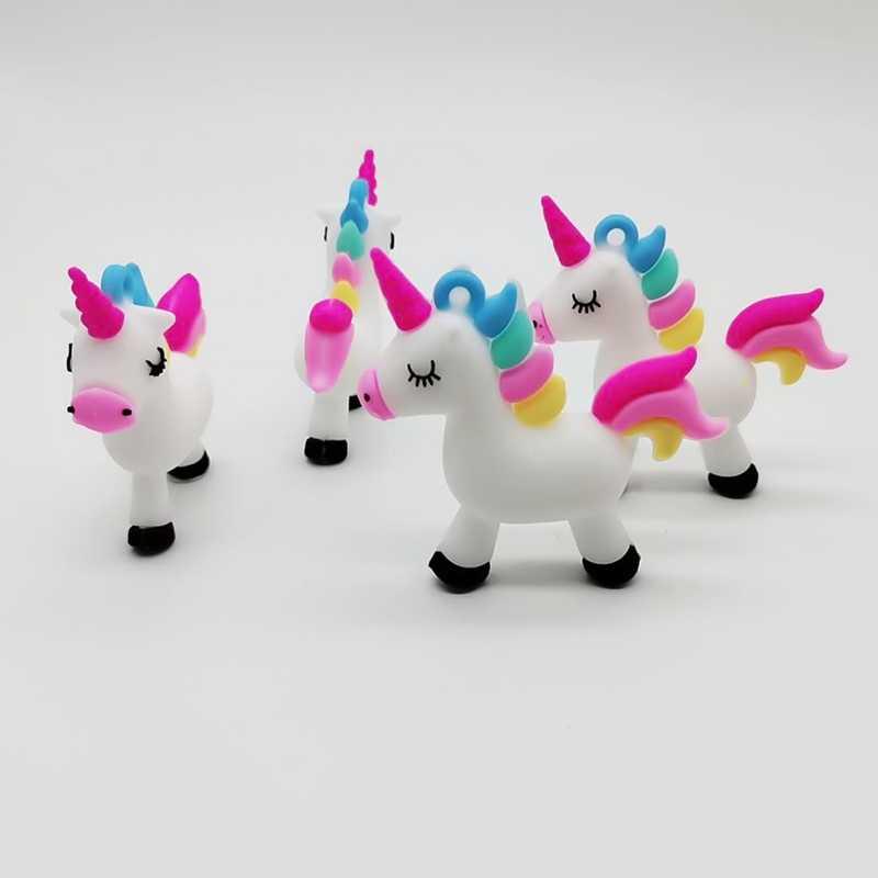 لينة المطاط يونيكورن الكرتون يونيكورن الحيوان عمل الشكل الطباعة صغيرة سلسلة مفاتيح مطاطية هدية الكريسماس حقيبة الإبداعية دمية