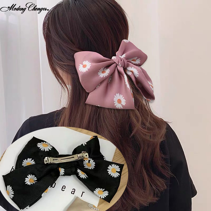2020Spring Small Daisies Barrettes Bow Hair Clip For Women Knotted Bow Double Layer Hairpin Ins Ponytail Clip Hair Accessories