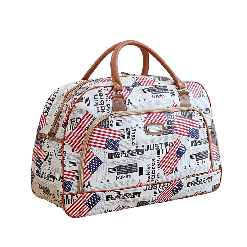 JULY'S DOSAC Travel Luggage Bag PU Meterial Big Capacity Printed Suitcase Portable Plane Use Duffle