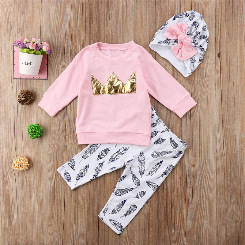 Pudcoco Toddler Kid Baby Girl Pink Crown Tops T-shirt +Pants Clothes Outfits Hat 3pcs Infant Clothing image