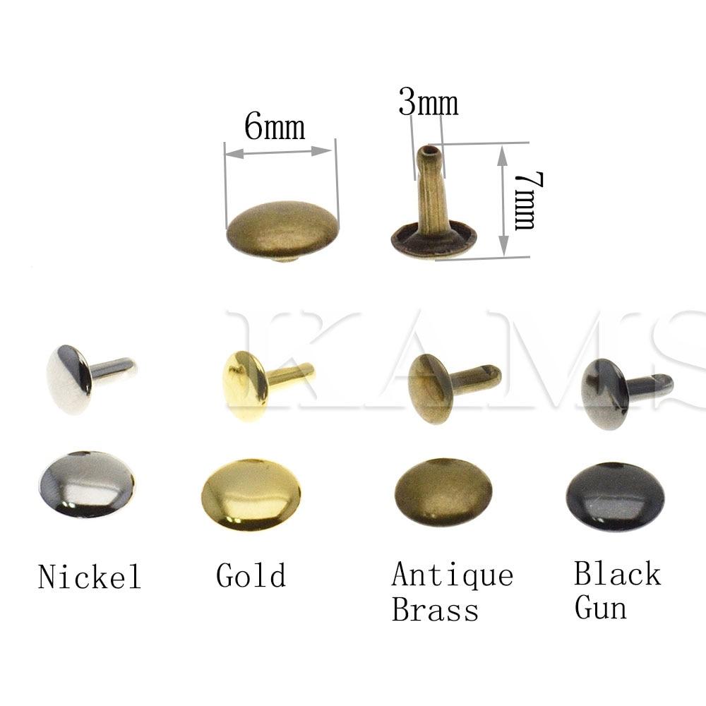 GOLD RIVETS 7MM DIAMETER CAPS X 8MM STEMS DOUBLE CAP LEATHER CRAFT