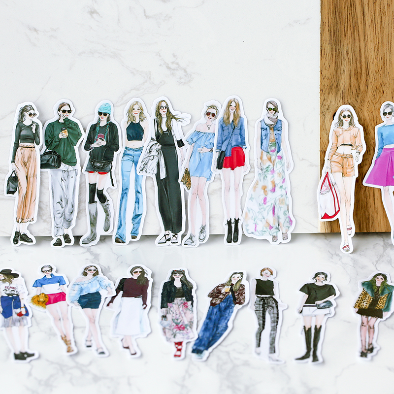 26Pcs/Set Cute Fashion Girl Daily Life Sticker DIY Craft Scrapbooking Album Junk Journal Happy Planner Decorative Stickers