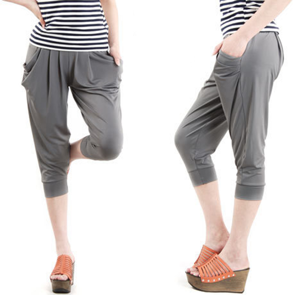 Women Summer Casual Cropped Trousers Pant Elastic Waist Ice Silk Harem Pants Large Size