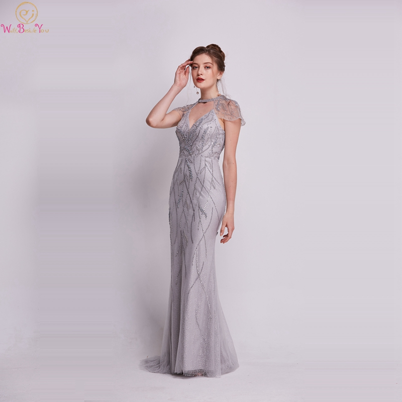 Gray Mermaid Formal   Evening     Dresses   2019 New Halter Neck Short Sheer Sleeves Long Shiny Crystal Prom Party Gowns robe de soiree