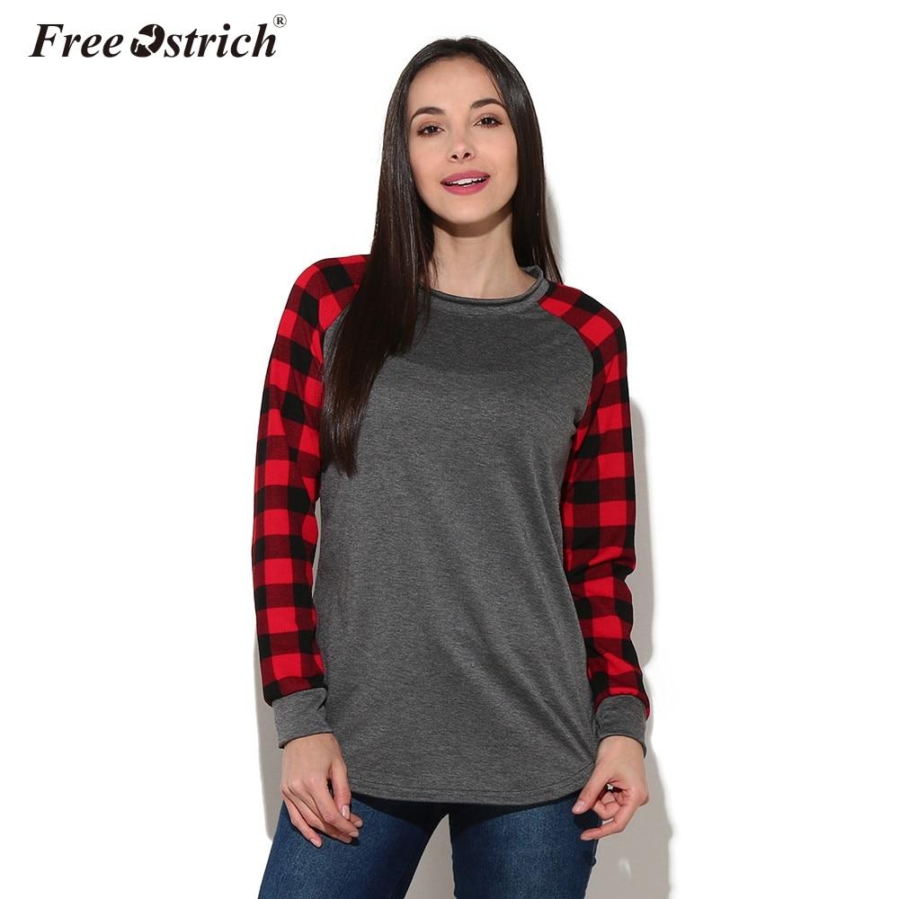 Free Ostrich T-shirt Women Pullover 2019 O-Neck Plaid Long Sleeve Sweatshirt Tops Shirt Newly Women Clothes A1930