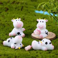 Bonito bonsái de vaca para decoración de jardín, artesanía de resina, Micro paisaje, figura en miniatura para decoración de jardín, accesorios, adornos de musgo