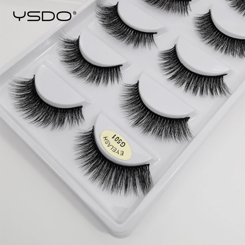 YSDO 5 Pairs 3d Mink Lashes Natural Long Mink Eyelashes Lashes Maquillaje Eyelash Extension Faux Cils Volume False Eyelashes G5