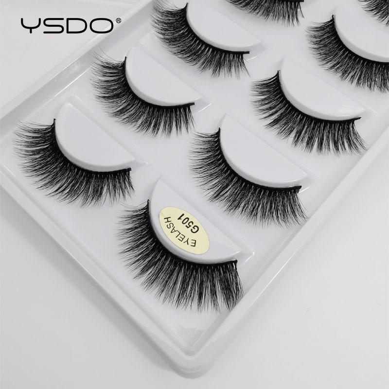 YSDO 5 Pairs 3d Mink Lashes Natural Long Mink Eyelashes Lashes Maquillaje Eyelash Extension Faux Cils Volume False Eyelashes G5