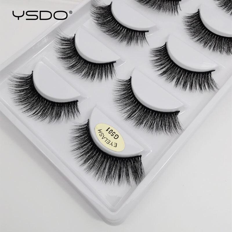 YSDO 5 pairs 3d mink lashes natural long mink eyelashes lashes maquillaje eyelash extension faux cils volume false eyelashes G5-in False Eyelashes from Beauty & Health
