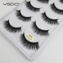 YSDO 5 أزواج ثلاثية الأبعاد المنك جلدة الطبيعية طويلة رموش بالمنك جلدة maquillaje رمش تمديد فو حجم الرموش الصناعية G5