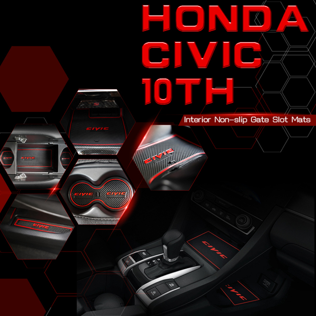 자동차 DIY 17PCS 비 슬립 매트 키트 도어 게이트 슬롯 안티 슬립 컵 홀더 패드 쿠션 2016 2017 2018 2019 2020 10th Gen Honda Civic
