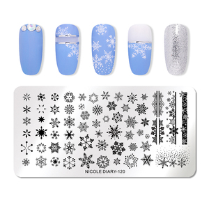 Image 3 - NICOLE DIARY Christmas Series Nail Stamping Template Holloween Series Image Stamp Plate Flower Marble Geometric DIY Stencil Tool