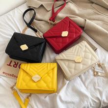2019 PU Leather Women Messenger Bag Plaid Ladies Crossbody Chain Trendy Candy Color Small Flap Shopping Handbag