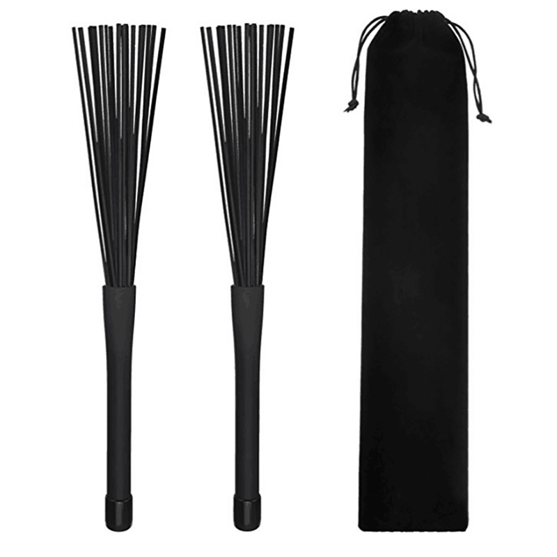 1 Pair Retractable Rubber Handles Jazz Drum Brushes Sticks Nylon 32CM Percussion Instruments
