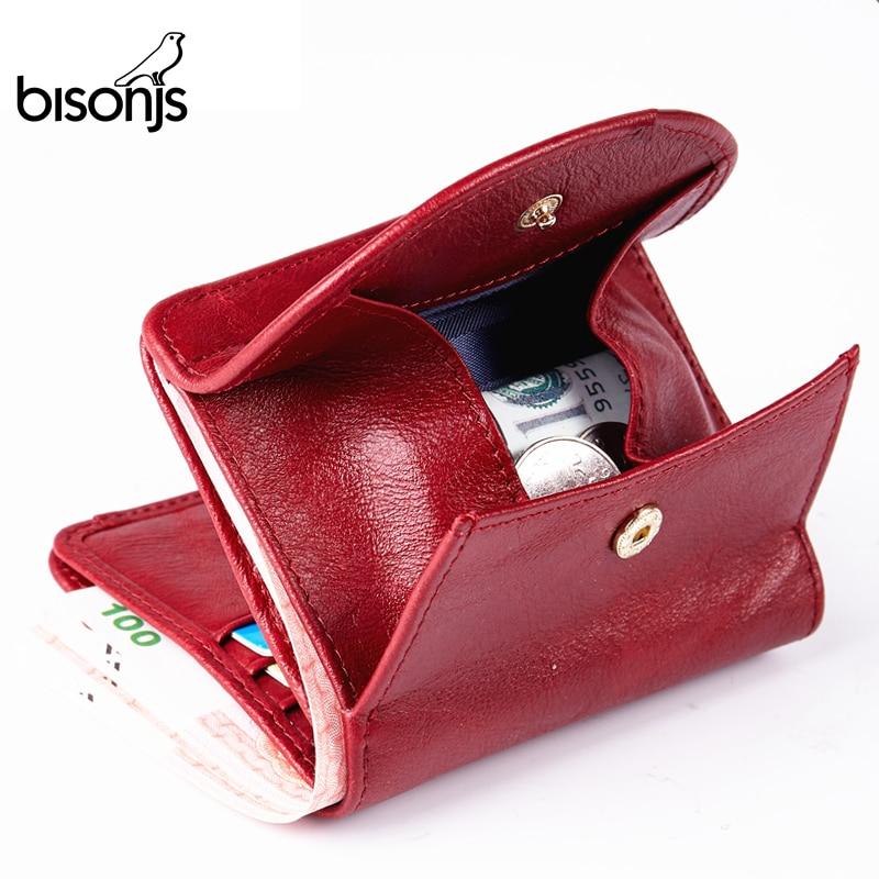 BISONJS Genuine Leather Wallet Women Fashion Card Holder Wallet Female Coin Purse Mini Clutch Money Bag For Girls B3274