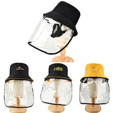 Fisherman Cap with Protective Clear Mask Saliva-proof Dust-proof Sun Safety Hat