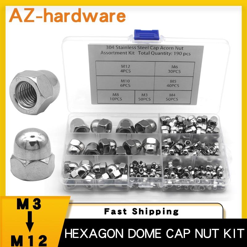 190PCS Acorn Cap Nut Assortment Kit M3 M4 M5 M6 M8 M10 M12 Stainless Steel Hexagon Dome Cap Nut Combination Kit