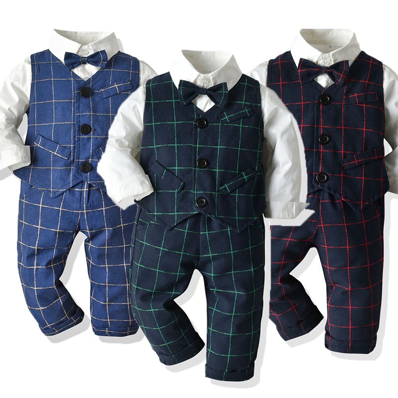 trouser suit for the boy new Newborn Baby Rompers Clothing Gentleman Bow Leisure
