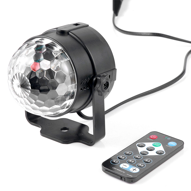 Led RGB Stage Light 3W Led Magic Ball Lamp Wireless Remote Sound Activated Crystal Disco Globe Light Party KTV Bar AC85-265V