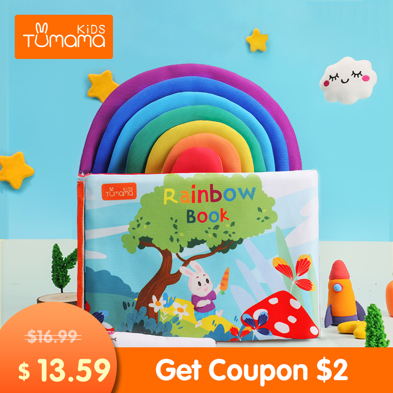 TUMAMA Baby Book Colorful 3D Soft Baby Early Educational Cloth Books Learning Number English Letter Rainbow Book Kid Rattle Toy