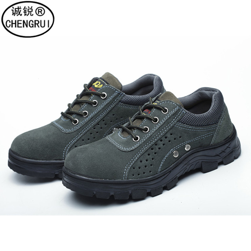 Safety Shoes Low-heel Safety Shoes Acid And Alkali Resistant Suede Cowhide Safety Shoes Anti-smashing And Anti-penetration