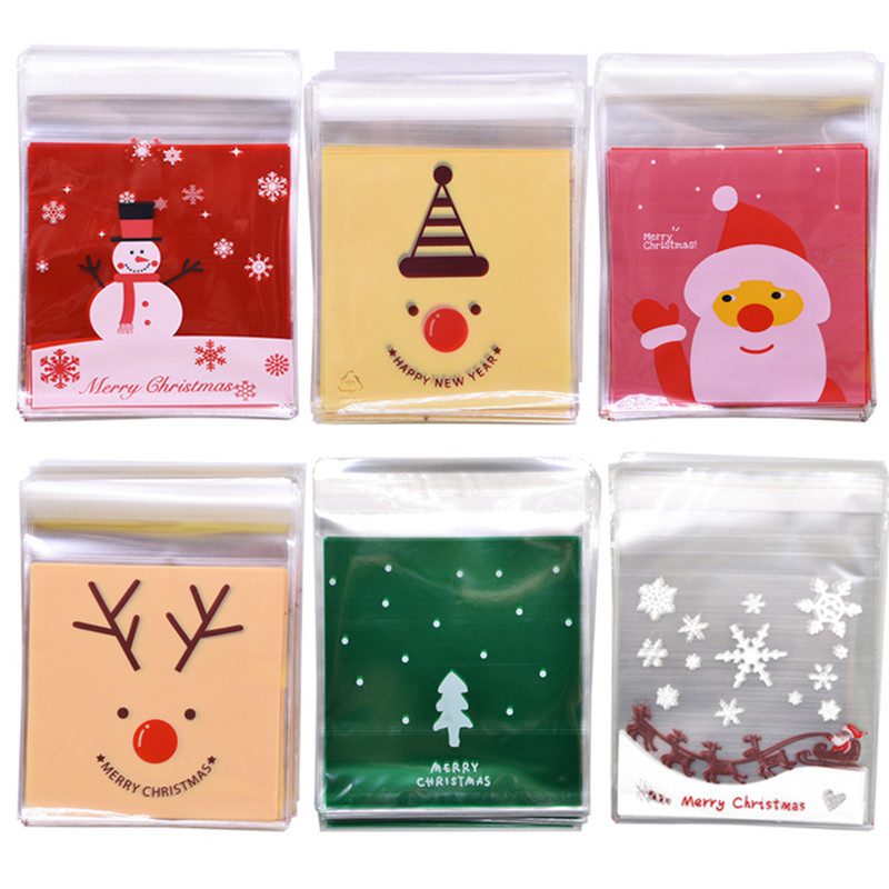 50pcs 10*10cm Merry Christmas Candy Bag Clear Plastic Bags Self-adhesive Cookie Packing Bags DIY New Year Xmas Party Gifts Bags