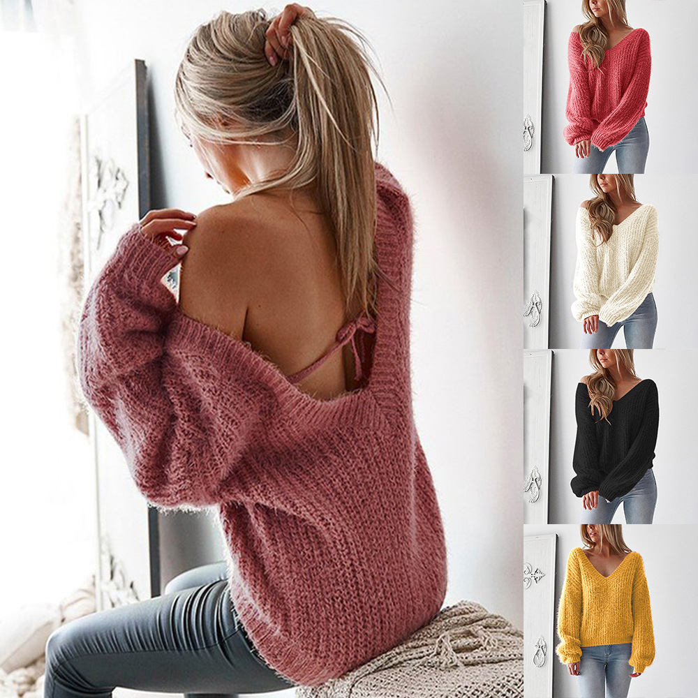 Sweater Women Winter 2019 Autumn Pullover New Backless Loose Sweater Top Cotton Solid Color Fashion Sexy Women's Clothing V-neck