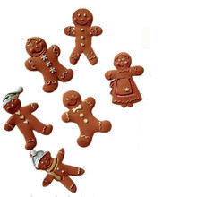 Silicone Mold Fondant Cake Mold Chocolate Candy Clay Mold Kitchen Cooking Tools Gingerbread Man Christmas Series(China)