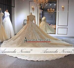 Image 2 - wedding dress 2020 Luxury Champagne Wedding Dress With Long Train Dubai