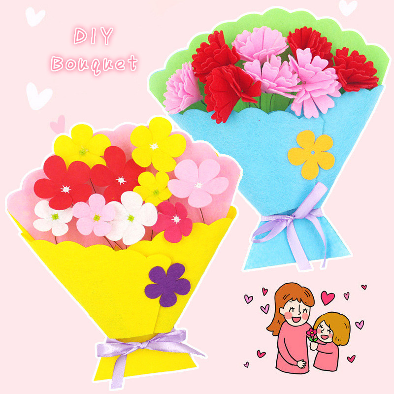 DIY Non-woven Bouquet Kids Arts And Crafts Toys Kindergarten School Art Craft Educational Toys Craft Kits For Children