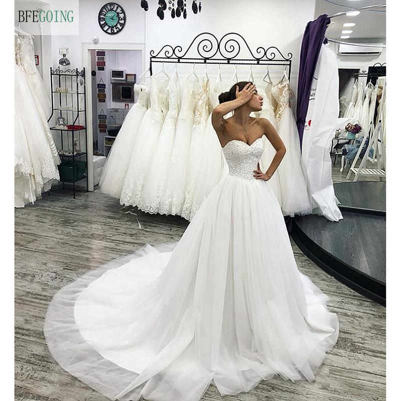 White Tulle Satin Beading Sweetheart Strapless  A-line Wedding Dress Chapel Train Custom Made