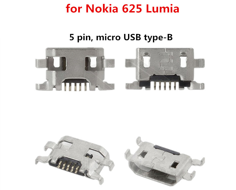 (5 pcs/lot)<font><b>USB</b></font> Charge Connector for <font><b>Nokia</b></font> <font><b>625</b></font> <font><b>Lumia</b></font> <font><b>625</b></font> (5 pin, micro <font><b>USB</b></font> type-B)<font><b>Charging</b></font> <font><b>port</b></font> socket image