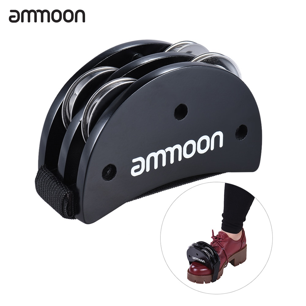 Ammoon Elliptical Cajon Box Drum Companion Accessory Foot Jingle Tambourine For Hand Percussion Instruments Black