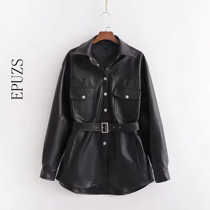 Autumn black Faux   Leather   Jackets women PU biker jacket zipper Streetwear Punk belt Motorcycle Coat ladies fur outwear 2019