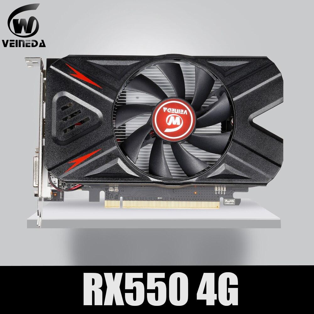 Видеокарта VEINEDA Radeon RX 550 4 ГБ GDDR5 128 бит для игрового настольного компьютера, видеокарты PCI Express3.0 для карты Amd-0