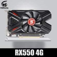 VEINEDA بطاقة الفيديو Radeon RX 550 4GB GDDR5 128 بت ألعاب كمبيوتر مكتبي بطاقات الرسومات الفيديو PCI express s3.0 لبطاقة Amd