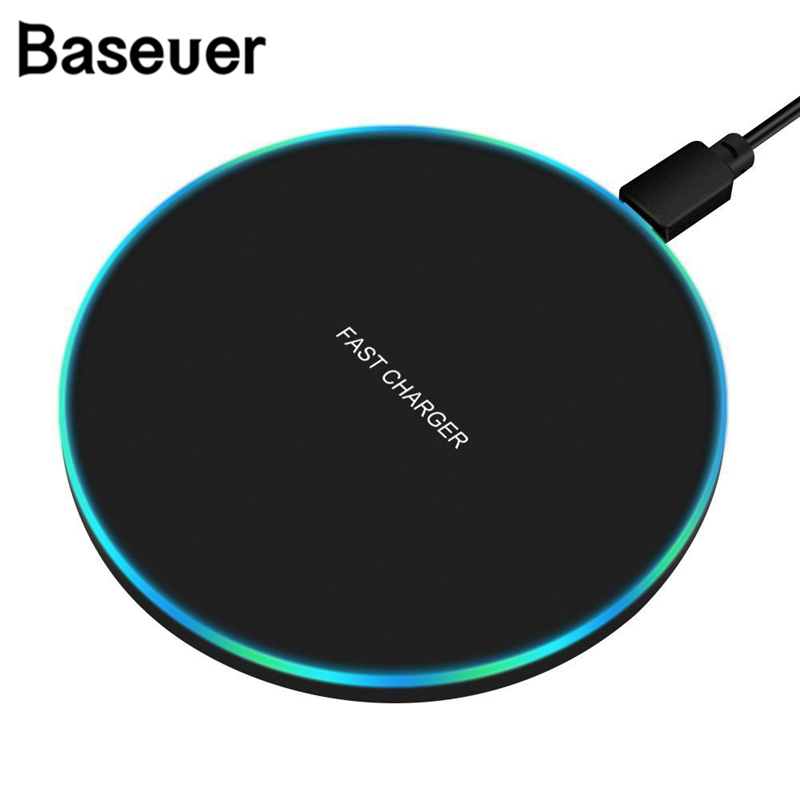 Baseuer 10W Fast Wireless Charger For Huawei Samsung Galaxy S9 S8 S7 Note 9 S7 USB Qi Charging Pad For IPhone XS Max XR X 8 Plus