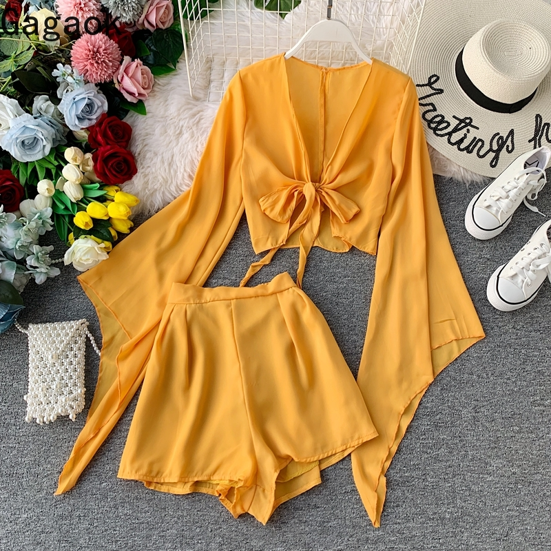 Gagaok Women Sexy Two Piece Set 2020 Summer New Solid Short Flare Sleeve V-Neck Backless Slim Chic Lace Up Female Fashion Sets
