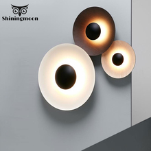 Modern Creative Wall Lamps Iron Round Black Wall Lamp Bedroom Bedside Wall Sconce Lamp Indoor Deco Lighting Luminaire Fixtures цена